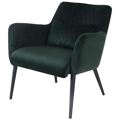 Damiware Rose Lazy Stuhl | Design Clubsessel Cocktailsessel Loungesessel Polstersessel Relaxsessel Lounge Couch Sofa mit Leder-Optik Stoffbezug | (Samt Dunkelgrün)