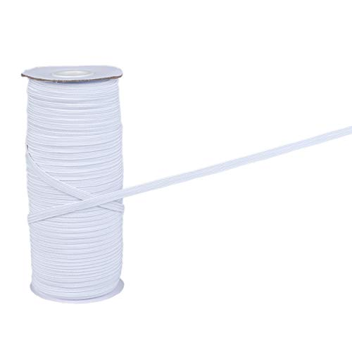 Nexphaze Elastic Band,Flat Elastic String for Masks, Rope, Garter, High Elasticity, Braided Stretch Strap Cord Roll for Arts & Crafts, Sewing, Mask and Crafting, DIY, 1/4 inch, 6mm, 100 Yards, White