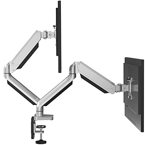 "ErGear Soporte Monitor Doble para 13""-32"" Monitor con Resorte de Gas Tecnología de Movimiento Completo Brazo Monitor Inclinación ± 45 ° Giratoria 180 ° Rotación 360 ° Diseño Ergonómico VESA 100/75mm"