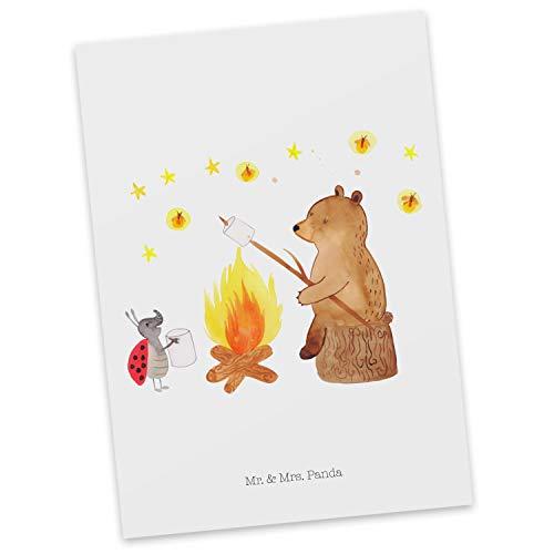 Mr. & Mrs. Panda Grußkarte, Einladung, Postkarte Bär & Marienkäfer Lagerfeuer - Farbe Weiß