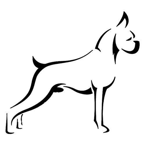 Empty 3 Stück Auto Aufkleber und Abziehbilder 15.7 * 14.4CM Boxer Dog Wasserdichtes, reflektierendes Abziehbild für Stoßstangenfenster Laptop Motorrad Fahrradgepäck Graffiti Patches