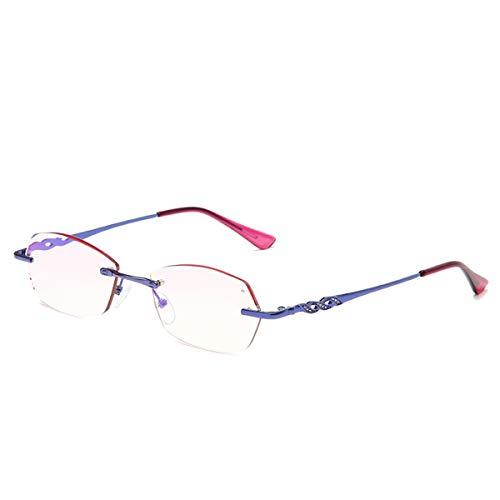 LGQ Nuevas Gafas de Lectura de Metal Anti-luz Azul, Gafas de Resina HD de Medio Marco a la Moda, dioptrías de Patillas Antideslizantes +1,00 a +3,00,Azul,+1.50