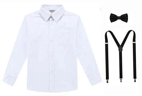 Bienzoe Jungen Schuluniform Lange Oxford Hemd Hosenträger Fliege Satz Weiß 10