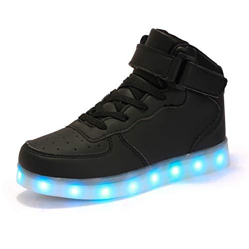 AFFINEST Jungen LED Schuhe Leuchtschuhe Sportschuhe USB Aufladen 7 Farbe Blinkende Light Up Turnschuhe Hoch Oben Sneakers für Kinder Mädchen(Schwarz,37)