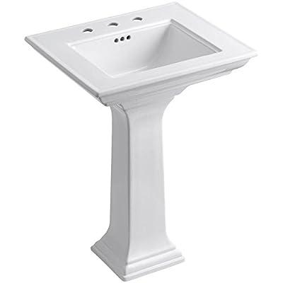 KOHLER K-2344-8-0 Memoirs Stately Pedestal Bathroom Sink, White