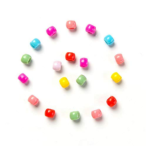 Kiwochy 100 mini pinzas para el pelo con forma de horquilla de plástico color caramelo pequeña con cuentas de arcoíris para niños niñas y mujeres accesorios para el colores mezclados 0.31 pulgadas