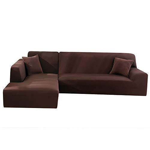 LITTLEGRASS Sofabezug Sofaüberwürfe für L-Form Elastische Stretch 2er Set für 3 Sitzer + 3 Sitzer(190-230cm) Braun