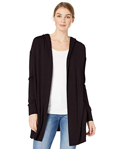Amazon Brand - Daily Ritual Women's Supersoft Terry Hooded Open Sweatshirt, Black, X-Large