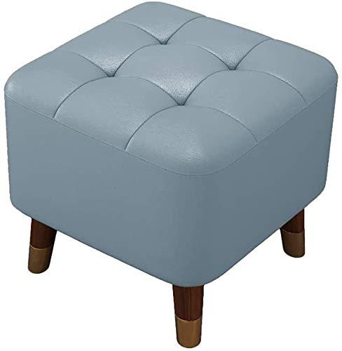Pasillo de reposapiés Taburete de otomanos de PU, 16 '' Taburete de pie de cuero de la PU - Pequeño reposapiés bajo escritorio, asiento de silla de silla de dibujos otomanos rectangulares modernos - P