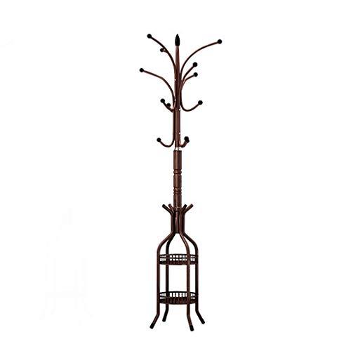 SHUTING2020 Perchero de pie de Maciza Perchero de Hierro Dormitorio Sala de Estar Perchero de Piso Perchero de casa Estante Doble Perchero de pie en Forma de árbol (Color : Brass)