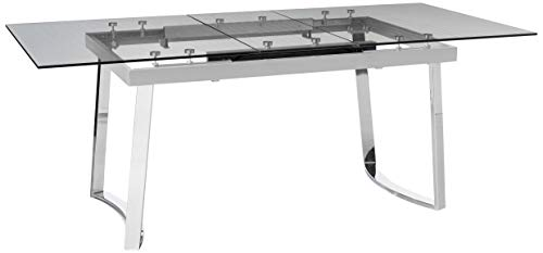 Acme Furniture Osias Dining Table, Chrome/Clear Glass