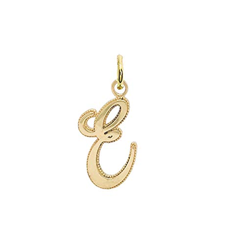 TAKAR Solid 14k Yellow Gold Personalized Cursive Style Letter E Pendant for Initial Necklaces for Women, A-Z Elegant Handmade Charms for Gold Jewelry Gifts to Your Loved Ones. Made in USA
