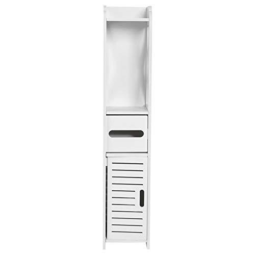 Armadio a Colonna per Bagno, Modern Tower Armadietto Mobiletto Bianco da Bagno Verticalea Pavimento in Legno con Ante e cassetti 80 x 15,5 x 15 cm
