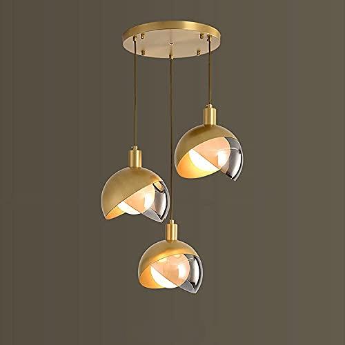 Lámpara Colgante del Colgante De Latón Lámpara De Colgante De Lujo De Oro 3-Llamas G9 Lámpara De Comedor Moderna Moderna Creativa Lámpara De Cristal Chandelier Ajustable Mesa De Comedor Ajustable