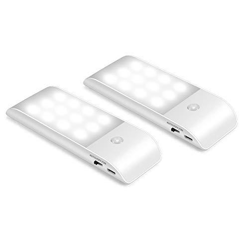 LED Nachtlicht mit Bewegungsmelder, Movaty 2 Stück USB Wiederaufladbare Nachtlampe Auto ON/OFF mit Lichtsensor,Wand- oder Schrankbeleuchtung(Weiß Licht)