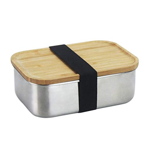 Amuzocity Fiambrera Bento Portátil Contenedor de Comida de Acero Inoxidable Tapa de Bambú Caja de Sushi