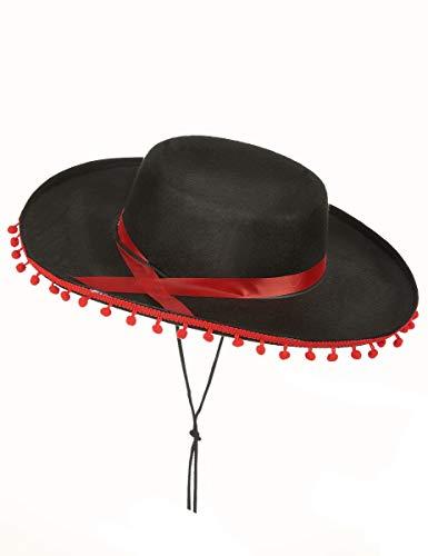 DEGUISE TOI - Chapeau Espagnol Noir et Rouge - Taille Unique
