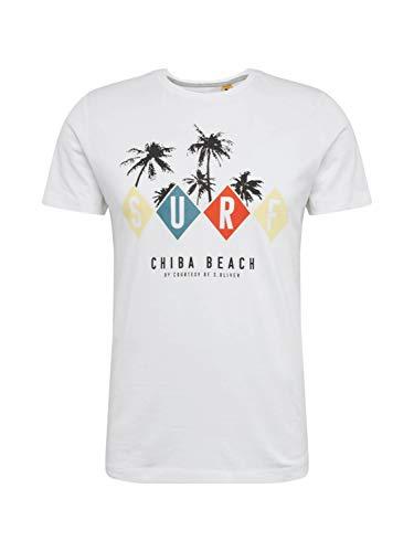 s.Oliver Herren 130.10.005.12.130.2037529 T-Shirt, White surf Print, L