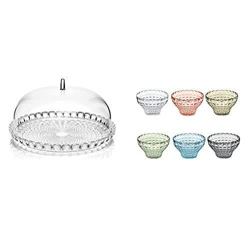 Guzzini Set Tortiera Piccola Tiffany, Trasparente, Ø30 X H16 Cm & Fratelli Set 6 Copette, Tiffany, Multicolore, 12 Cm