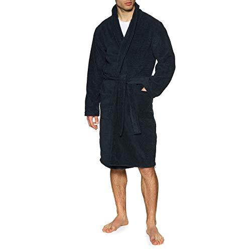 Emporio Armani Underwear Herren Homewear - Sponge Bathrobe Bademantel, Blau (Marine 00135), Large (Herstellergröße:L/XL)