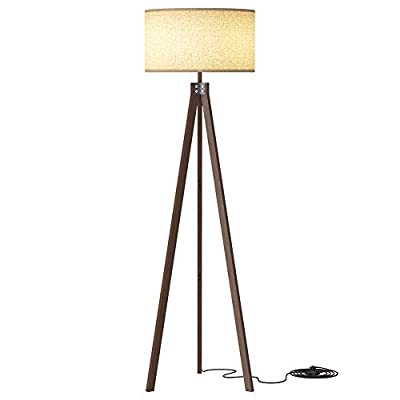 LEPOWER Wood Tripod Floor Lamp, Mid Century Tall Standing Lamp, Vintage Design Studying Light with Solid Wood Legs for Living Room, Bedroom and Office, Flaxen Lamp Shade with E26 Lamp Base
