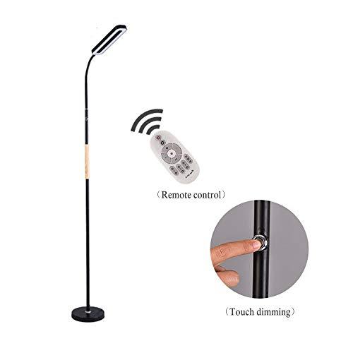 Staande lamp, led-vloerlamp, 8 W, dimbaar, voor woonkamer, slaapkamer, lange levensduur, hoge lumen fakkel dimmen afstandsbediening vloerlamp, 5 helderheid