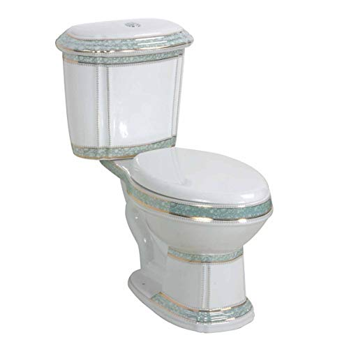 Renovators Supply India Reserve Elongated Two Piece Bathroom Toilet - Modern Upscale Dual Flush Push Button 0.8 GPF/1.6 GPF WaterSense ADA CUPC - Heavy Duty Porcelain Includes Toilet Seat White