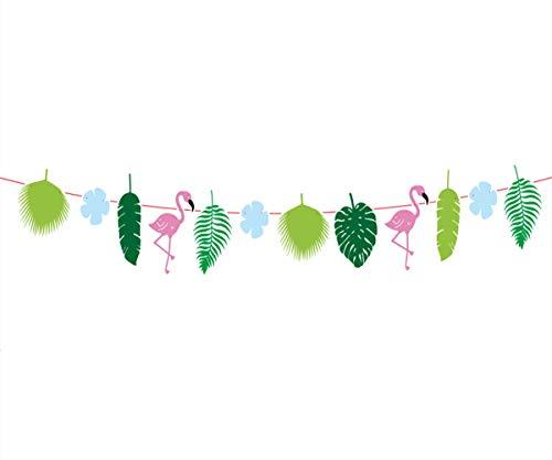 Flamingo Banner,Flamingo Palm Tree Bunting Banner,Hawaiian Tropical Garland,Hawaiian Tropical Party Summer Party, Birthday Party Wedding Photo Backdrop, Hanging Decorations