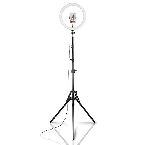 Hama LED Ringlicht mit Stativ und Handy-Halterung (30 cm Lichtring, Ringleuchte inkl. Bluetooth-Fernbedienung, 3 Farbtemperaturen, 10 Helligkeitsstufen, passend für Youtube/TikTok/Selfies) schwarz