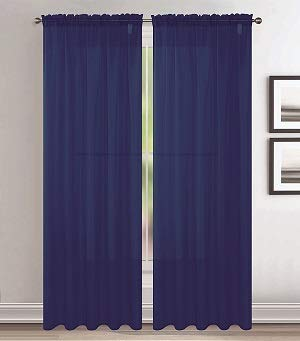 Jody Clarke 2pc Set Sheer Voile Window Treatment Rod Pocket Curtain Panels for Bedroom and Living Room Assorted Colors & Sizes Solid Stitched & Hemmed(Navy, 2PC 54 X 84)
