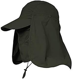 Go2buy Men & Women Outdoor Sun Hat Fishing Hiking Hat with Face Neck Flap Protection Cover Removable UPF 50+ Sun Cap (Army Green)