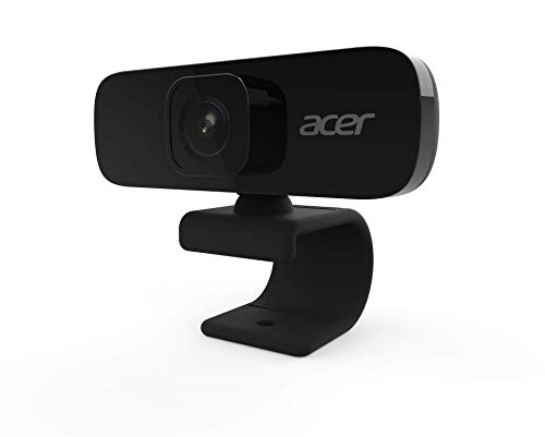Acer Full HD Conference Webcam (5 Megapixels, 30 FPS, 70° Wide Angle, 360° Image Rotation, Integrated Noise Cancelling Micro, Private Mode, Compatible with Win, Linux, Mac and Android) Black
