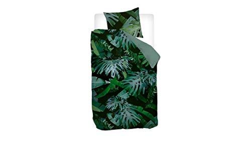 Snoozing Jungle - Juego de cama (140 x 200/220 cm y 1 funda de almohada de 60 x 70 cm), color verde