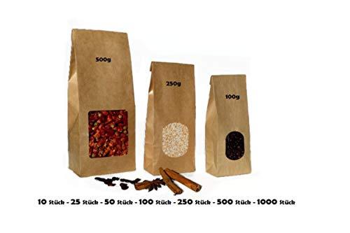 Blockboden-Beutel mit Sicht-Fenster braun papier - 100g/250g/500g - versch. Größen – Gewürz-Geschenk-Tüte Obst-Beutel Geschenkverpackung Papier-beutel Kraftpapier-tüten Mitgebsel (10 Stück, 100g)