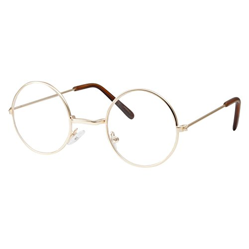 grinderPUNCH Kids Size Non-Prescription Glasses Round Circle Frame Clear Lens Costume (Age 3-10) Gold