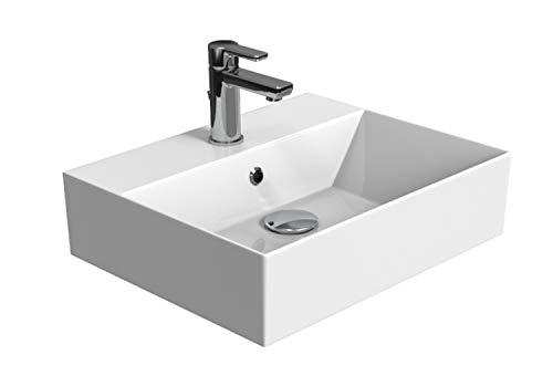 Aqua Bagno | Design Waschbecken Hängewaschbecken Aufsatzwaschbecken Waschtisch aus hochwertiger Keramik eckig KS.50 | 50 x 42 cm | Weiß