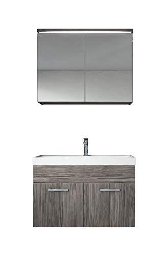 Badezimmer Badmöbel Set Paso 02 80 cm Waschbecken Bodega (Grau) - Unterschrank Schrank Waschbecken Spiegelschrank Schrank