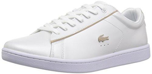 Lacoste Women's Carnaby Sneaker, Pearl White/Gold, 8 M US