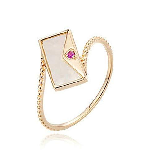 AmDxD Anillo de Oro de 18 Kilates, Anillo Compromiso Mujer Bolsa de Sobres Diseño con 0.011ct Rubí, Oro Rosa, Tamaño 6,75 (Perímetro: 47mm)