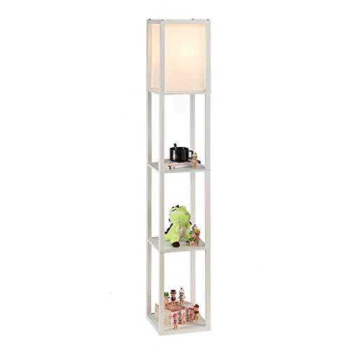 Moderne binnenverlichting van eikenhout met planken voor slaapkamer-vloerlamp van stof met ingebouwde planken (160 cm/wit)