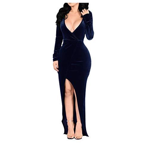 Kanpola Abendkleider Damen Lang Bodycon Kleid Sexy Tiefer V-Ausschnitt Elegant Kleider Schlit Maxikleid Samt Langarm Cocktailkleid Partykleider