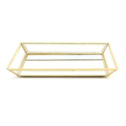 tiantianchaye Rectángulo dorado espejo organizador de la bandeja de la joyería bandeja de la joyería bandeja del perfume de la bandeja del aparador de la bandeja de cristal del
