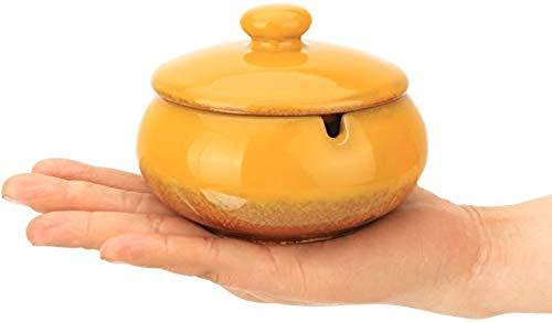 ZF Cenicero del cigarro, cenicero de cerámica China con una Cubierta de té Tabla Mesa Pequeño Decoración Dormitorio Apartamento Retro Humo del cigarro y el Humo, Ronda Negro (Negro) Ronda,Gold