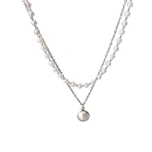AYJMA Moda KPOP Collar de Gargantilla de Perlas Lindo Colgante de Cadena de Doble Capa para Mujer joyería niña