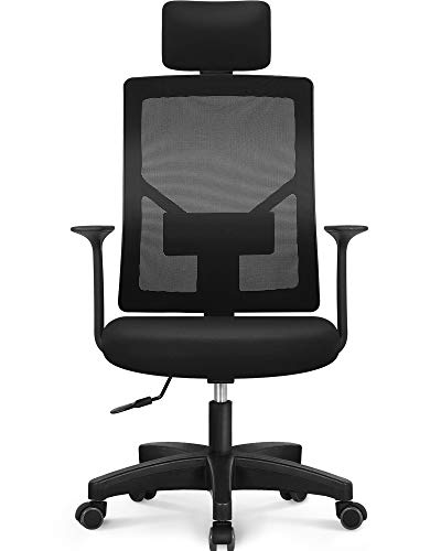NEO Chair Office Chair Computer Headrest Desk Chair- Head Rest Business Ergonomic High Chair Cushion Lumbar Support Wheels Comfortable Mesh Racing Seat Adjustable Swivel Rolling Executive, Black H