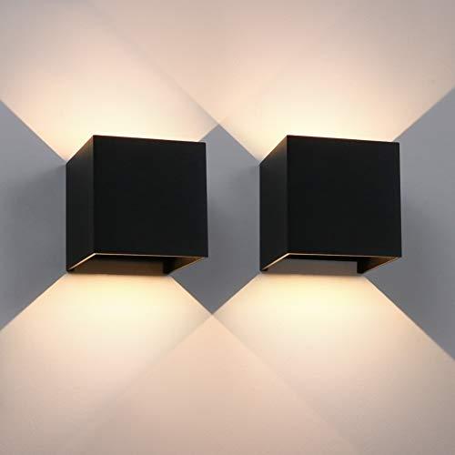 Aipsun 12W LED Wandleuchte 2er Pack Modern Warmweiß Außenlampe Mit Einstellbar Abstrahlwinkel LED Wandbeleuchtung IP65 Innen/Außen(Schwarz, 3000K)