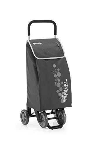 Gimi Twin - Carro de la compra, con 4 ruedas, bolsa impermeable de poliéster, capacidad de 56 litros, peso máximo soportado 30 kg, Gris, 40 x 53 x 92 cm