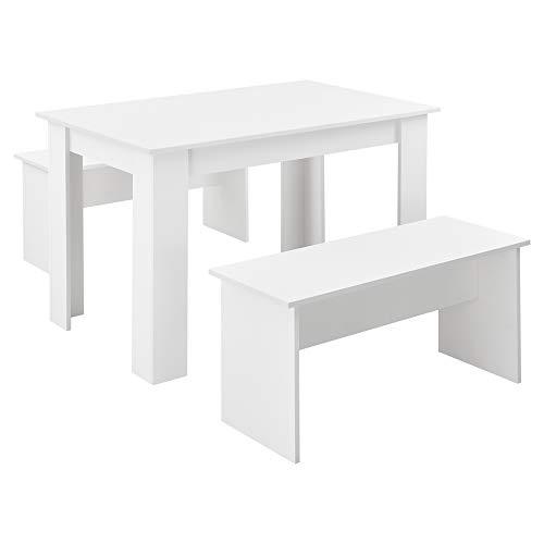 [en.casa] Tisch- und Bank Set 3 teilig Essgruppe für 4 Tisch 110 x 70 cm mit 2 Bänken Tischgruppe Sitzgruppe Weiß