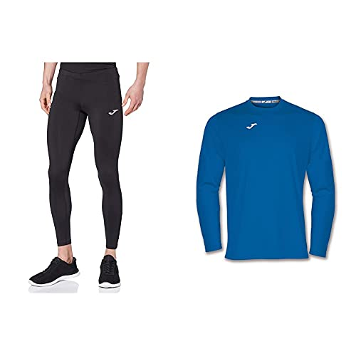 Joma Skin 100088 Pantalones térmicos, Hombre, Negro, M + 100092.700 Camiseta De Equipación De Manga Larga para Hombre, Color Azul Royal, Talla M
