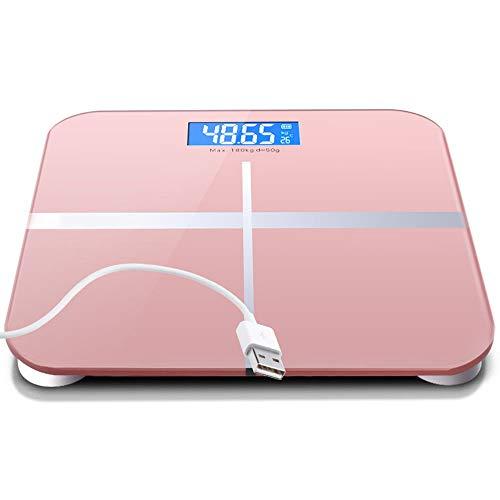 HUIHUAN Báscula de baño de peso corporal digital digital con tecnología Step-On Batería USB Recargable Diseño delgado Pantalla de retroiluminación